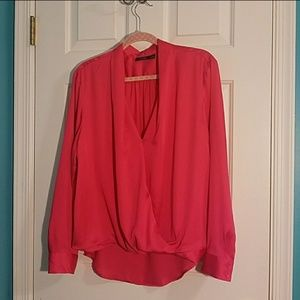 Apt. 9 snap button wrap blouse coral / hot pink